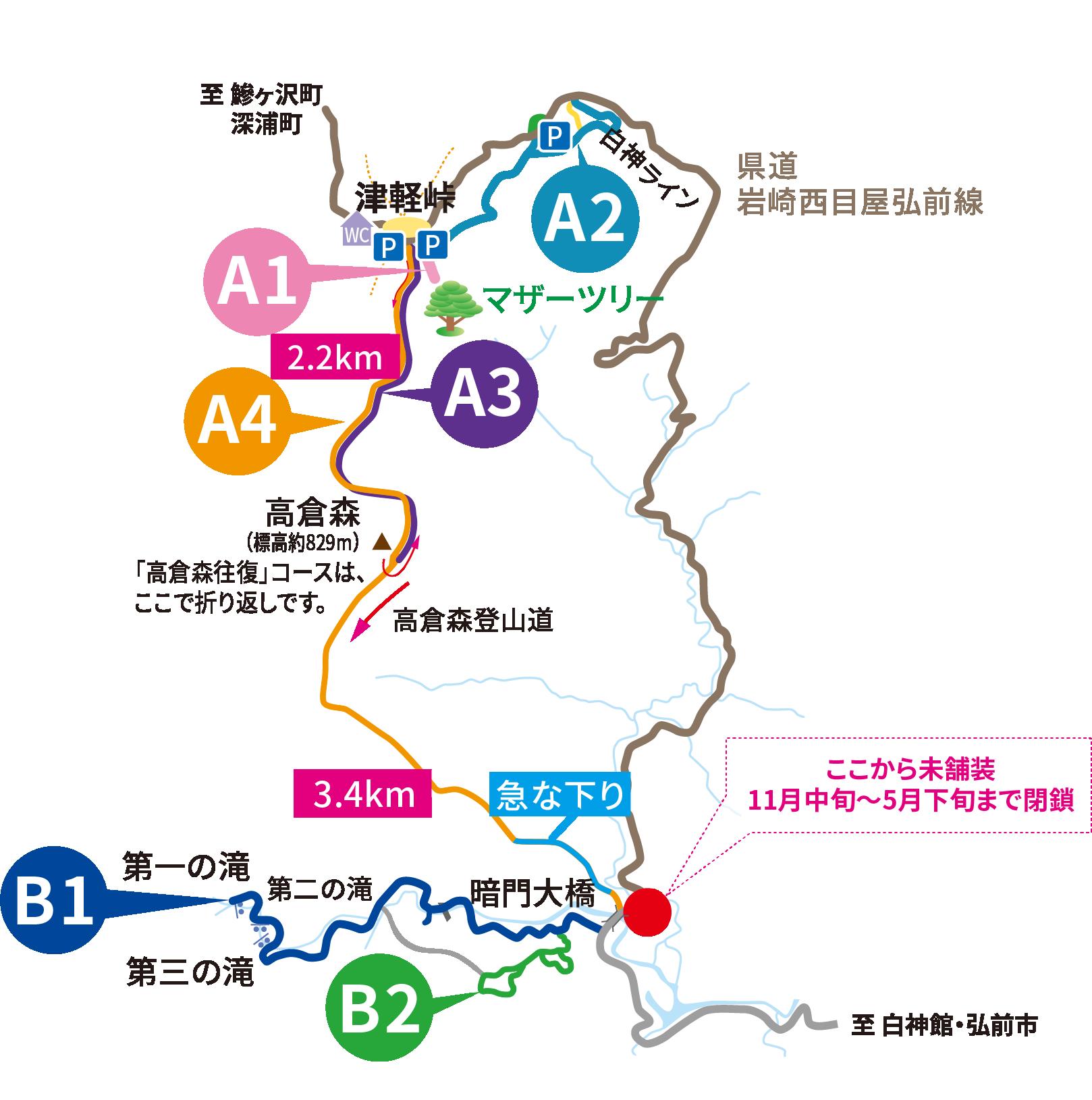 白神山地トレッキングマップ